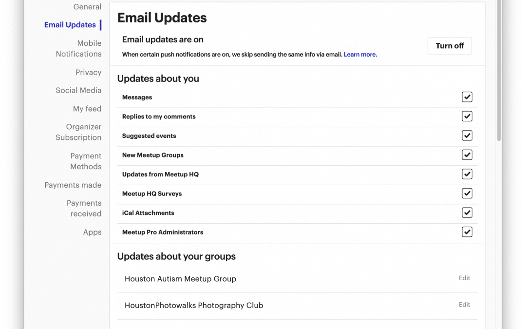Updating your Meetup.com Email Settings